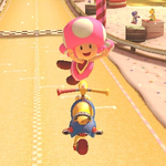 Toadette performing a trick. Mario Kart 8.