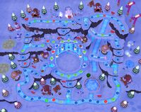The Snowflake Lake board during the night in Mario Party 6