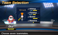 Shy Guy's stats in the baseball portion of Mario Sports Superstars