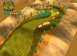 Hole 16 of Shy Guy Desert from Mario Golf