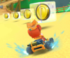The icon of the Waluigi Cup challenge from the Halloween Tour and the Toadette Cup challenge from the Exploration Tour in Mario Kart Tour