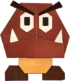 An origami Goomba from Paper Mario: The Origami King.