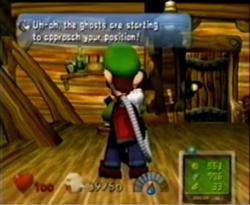 Luigi talking to Professor E. Gadd in the Telephone Room.
