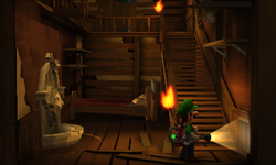 The Toolshed Stairs segment from Luigi's Mansion: Dark Moon.