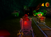 Diddy Kong in a Mine Mine Cart in a Minecart Race in the game Donkey Kong 64