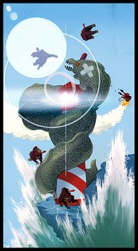Concept artwork from Donkey Kong Country Returns showing Donkey Kong and Diddy Kong fighting against a gigantic moray eel enemy in the sea.