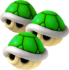 Artwork of Triple Green Shells, from Mario Kart Wii.