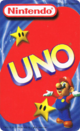 The back of the Nintendo UNO cards (featuring Mario and two Super Stars)