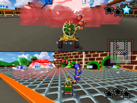 A Bob-omb Blast battle at Pipe Plaza.