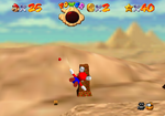 Zombie Mario glitch from Super Mario 64 in Shifting Sand Land.