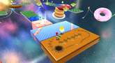 Mario and Yoshi in the Flipswitch Panel area in the Sweet Mystery Galaxy.