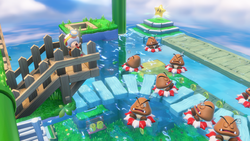 Sleeping Goombas, in a level from Captain Toad: Treasure Tracker.