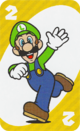 The Yellow Two card from the UNO Super Mario deck (featuring Luigi)