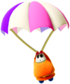 A pilot-themed Fat Guy using a parachute