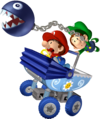 Baby Mario and Baby Luigi riding on the Goo-Goo Buggy from Mario Kart Double Dash!!. Baby Luigi is using his special item, the Chain Chomp.