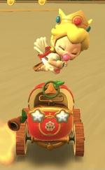 Baby Peach (Cherub) performing a trick.