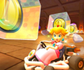 The icon of the Larry Cup challenge from the Wild West Tour and the Peach Cup challenge from the Bowser vs. DK Tour in Mario Kart Tour.