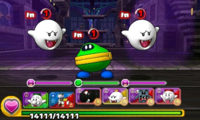 Screenshot of World 5-Ghost House, from Puzzle & Dragons: Super Mario Bros. Edition.