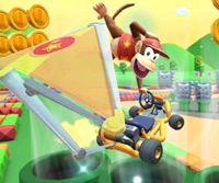 The icon of the Larry Cup challenge from the Peach Tour and the Funky Kong Cup challenge from the Bowser vs. DK Tour in Mario Kart Tour.