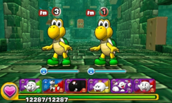 Screenshot of World 1-Tower, from Puzzle & Dragons: Super Mario Bros. Edition.