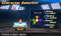 Baby Mario's stats in the baseball portion of Mario Sports Superstars