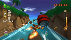 Donkey Kong races to a Barrel Cannon in the DK Jungle stage of Donkey Kong Barrel Blast.