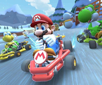 The icon of the Yoshi Cup challenge from the Exploration Tour in Mario Kart Tour.