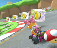 The icon of the Wendy Cup challenge from the Tokyo Tour and the Waluigi Cup challenge from the Jungle Tour in Mario Kart Tour.