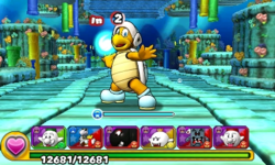 Screenshot of World 4-8, from Puzzle & Dragons: Super Mario Bros. Edition.