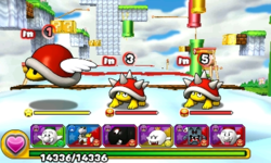 Screenshot of World 6-7, from Puzzle & Dragons: Super Mario Bros. Edition.