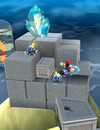 Mario spins in mid-air.