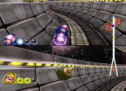 Wario gets hit in Cosmic Slalom from Mario Party 8