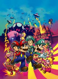 Group picture for the box art for Mario & Luigi: Partners in Time