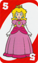 The Red Five card from the UNO Super Mario deck (featuring Princess Peach)