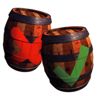 Artwork of Check and X Barrels.