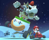 The icon of the Dry Bowser Cup challenge from the Ice Tour and the Roy Cup challenge from the Sunset Tour in Mario Kart Tour