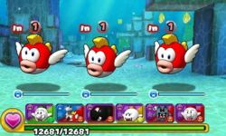 Screenshot of World 4-1, from Puzzle & Dragons: Super Mario Bros. Edition.