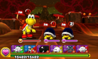 Screenshot of World 7-3, from Puzzle & Dragons: Super Mario Bros. Edition.
