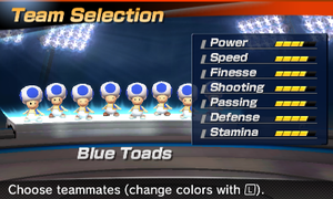 Blue Toad's stats in the soccer portion of Mario Sports Superstars
