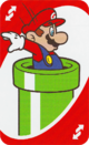 The Red Reverse card from the UNO Super Mario deck (featuring Mario and a Warp Pipe)