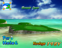 The sixth hole of Blooper Bay from Mario Golf: Toadstool Tour.