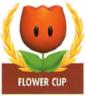Mario Kart: Super Circuit promotional artwork: The Flower Cup emblem.