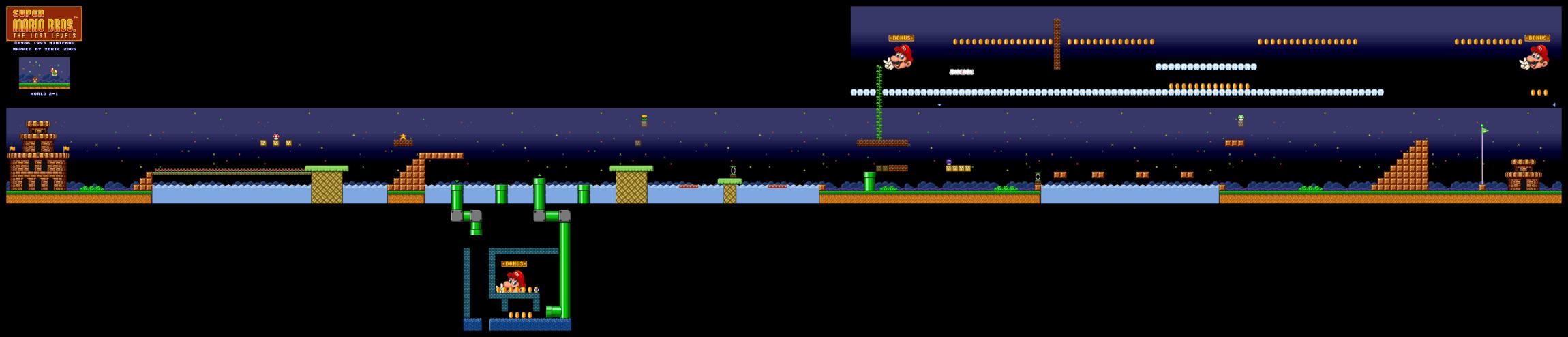 Map of World 2-1 (Super Mario All-Stars version)