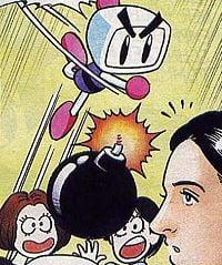Bomberman throwing a bomb at Nicole, Pia and Balu