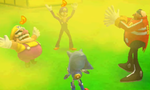 Wario and Waluigi celebrate after beating Dr. Eggman and Metal Sonic