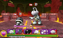 Screenshot of World 2-Castle, from Puzzle & Dragons: Super Mario Bros. Edition.