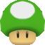 Rendered model of a 1-Up Mushroom in Super Mario Galaxy.