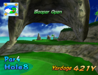 The eighth hole of Blooper Bay from Mario Golf: Toadstool Tour.