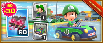 The Baby Luigi Pack Pack from the Valentine's Tour in Mario Kart Tour