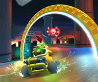 The icon of the Wario Cup challenge from the 2019 Winter Tour and the Hammer Bro Cup challenge from the Ninja Tour in Mario Kart Tour